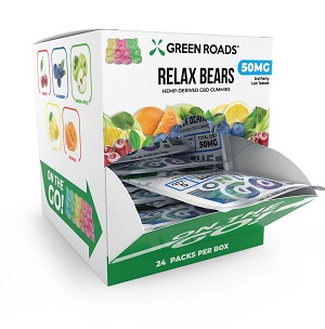 "Green Roads ""ON THE GO"" CBD Edibles 50mg Relax Bears 24pc Box"