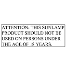 FDA Warning Label - Under 18 Tanning