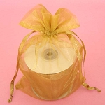 Gold Organza Drawstring Bag 6
