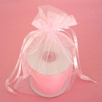 Pink Organza Drawstring Bag 6